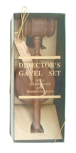Director's Gavel Set; Including Gavel, Brass Gavel Band, Sounding Block
