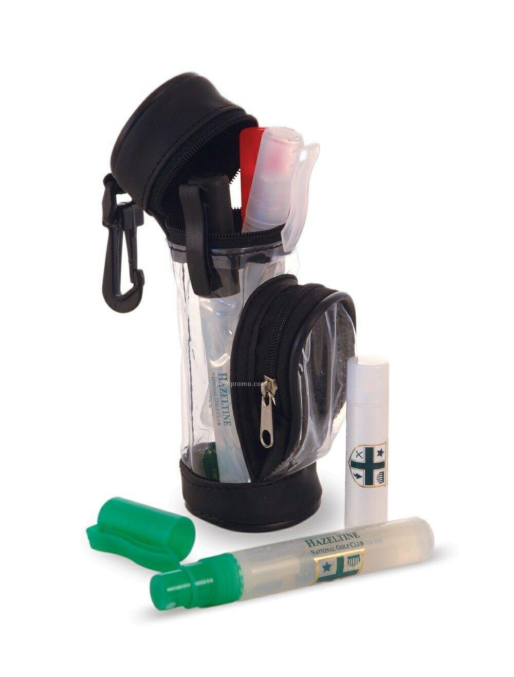 5 Pack Golfer's Caddy Kit W/ 0.25 Oz. Pocket Sprayers & Lip Balm