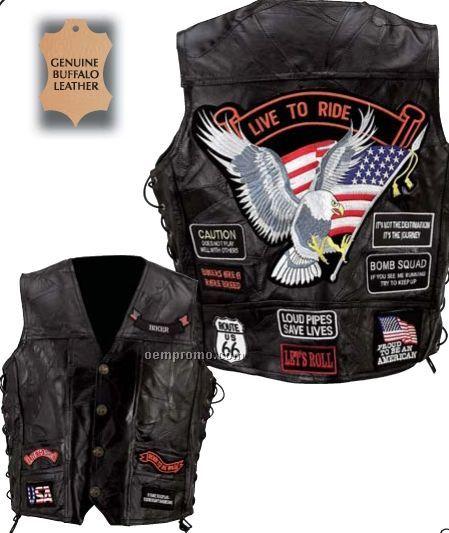 Diamond Plate Genuine Buffalo Leather Vest W/ 14 Patches (Xl)