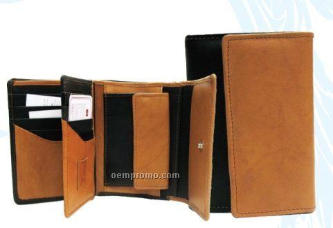 Dark Brown Ladies Cowhide Tri Fold Wallet W/ Sim Card
