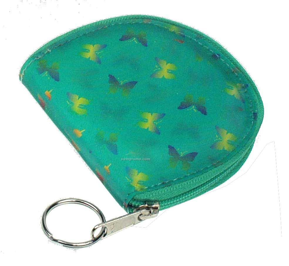 Round Coin Purse W/3d Lenticular Animated Butterflies (Blanks)
