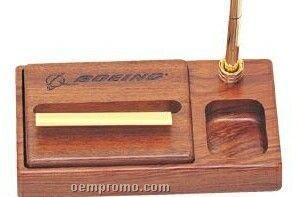 Rosewood Posting Note Dispenser & Pen Holder