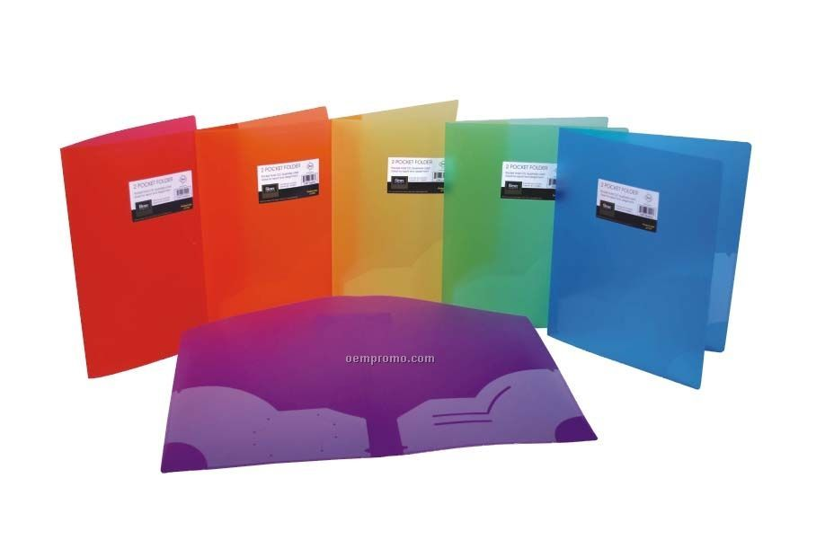 Assorted Pack Frosted 3-hole Punched 2 Pocket Folder