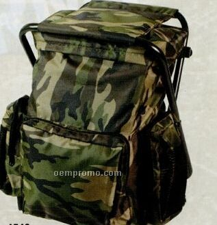 Woodland Camouflage Backpack & Stool Combination