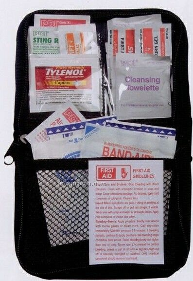 Deluxe First Aid Kit In Black Nylon Zipper Case