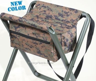 deluxe woodland digital camouflage folding camp stool with