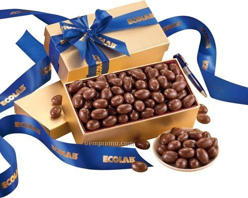 Gold Gift Box W/ Milk Chocolate Covered Almonds
