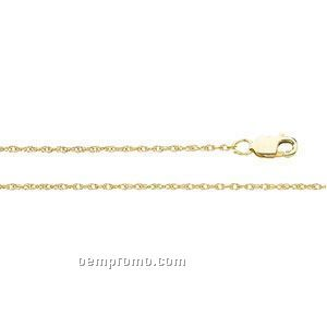 """Ladies' 7"""" 14ky 1mm Lasered Titan Gold Rope Chain Bracelet"""