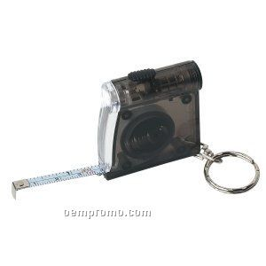 Black Tape Measure W/ Flashlight & Keychain