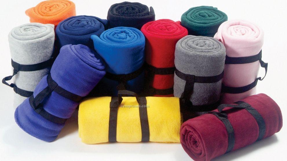 Custom Printed Fleece Throw Blanket - Embroidered (50