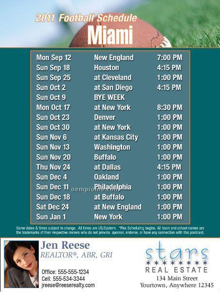 "Miami Football Schedule Postcards-standard (4-1/4""X5-1/2"")"