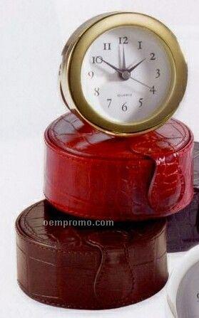Travel Clock W/ Traditional Premium Leather Case