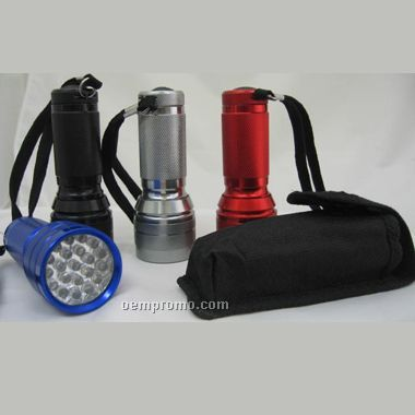 21 LED Metal Flashlight W/Pouch (Screened)