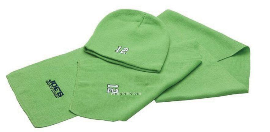 Acrylic Knit Scarf & Hat Set