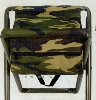 Deluxe Woodland Camouflage Folding Camp Stool With Pouch