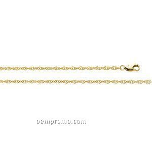 14ky 1-1/2mm Lasered Titan Gold Rope Chain 7 Inch