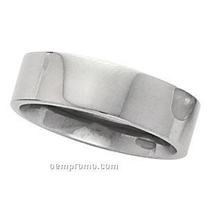 6mm Flat Inside Round Titanium Wedding Band Ring (Size 7)