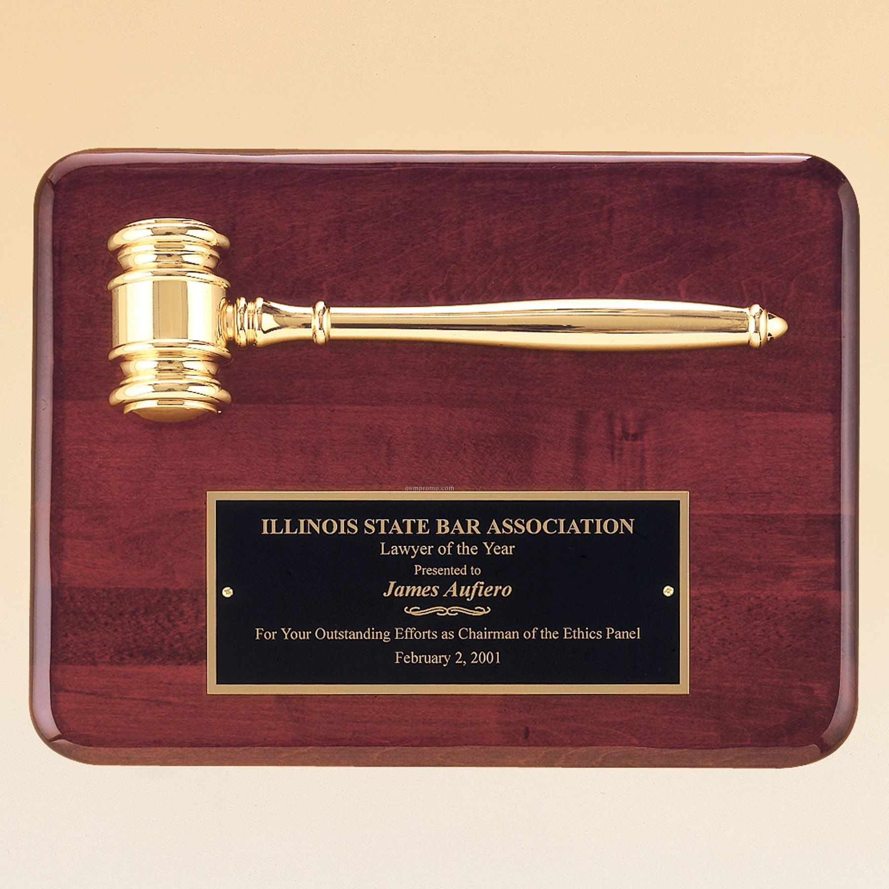 Rosewood Stained Piano Finish Plaque W/ Gold Electroplated Metal Gavel