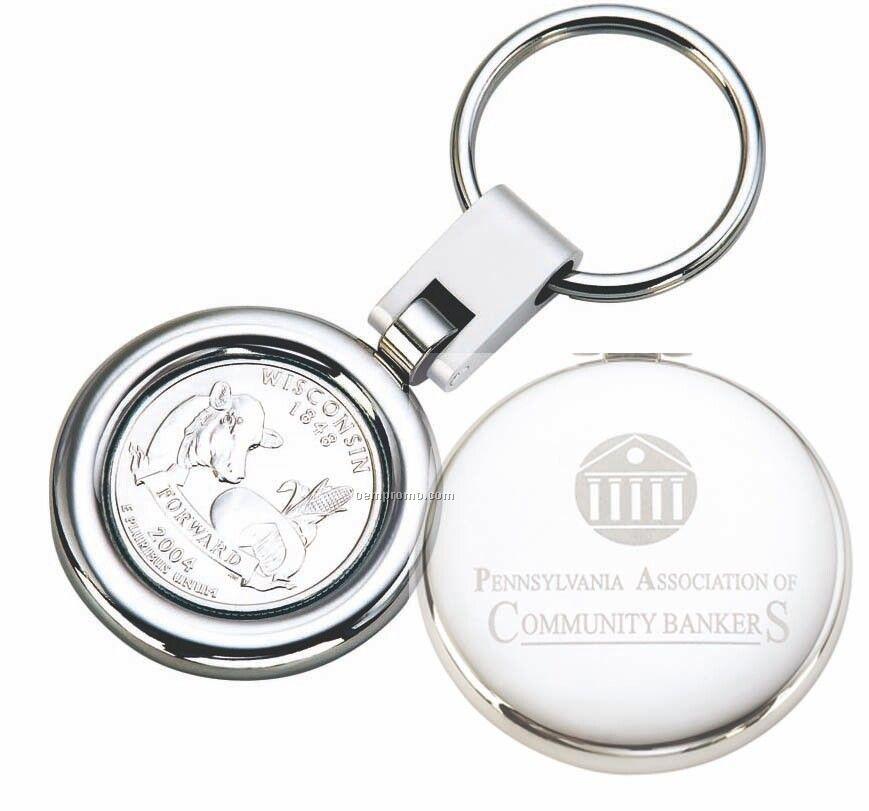 Swivel Round Rotating Shiny Nickel Key Ring W/State Quarter & Engraving