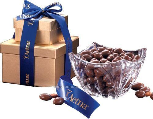 Genuine European Crystal Bowl W/ Milk Chocolate Almonds