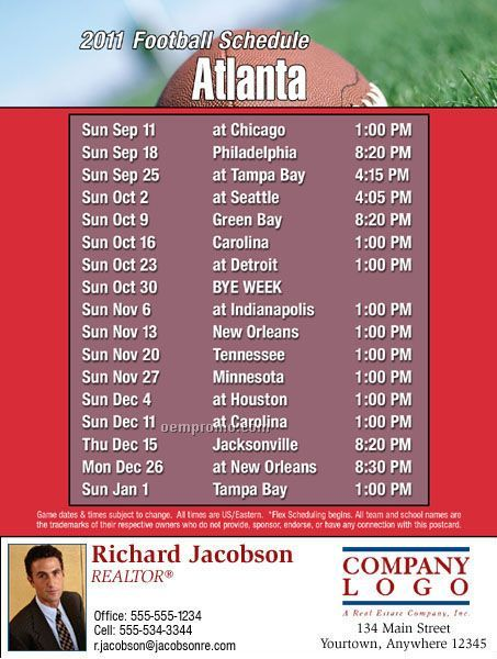 "Atlanta Football Schedule Postcards - Standard (4-1/4"" X 5-1/2"")"