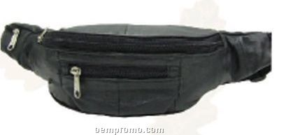Black Lambskin 4-zipper Waist Wallet Fanny Pack W/ Loops
