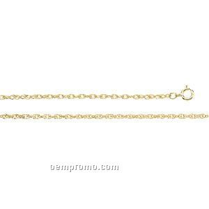 """Ladies' 7"""" 14ky 1-1/2mm Lasered Titan Gold Rope Chain Bracelet"""