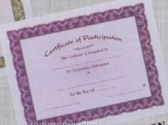 "8 1/2""X11"" Stock Deluxe Award Certificate - Participation"
