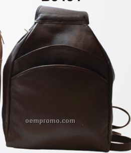 Medium Brown Evelyn Tear Drop Knapsack W/ 2 Front & 1 Side Zipper