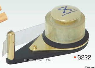 "4""X2""X1-1/2"" Brass/ Matte Tape Dispenser Paper Weight W/ Tape (Screened)"