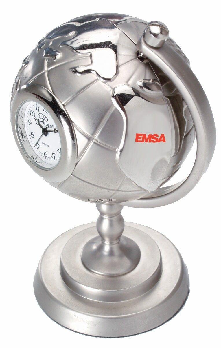 Die Cast Globe Clock W/ Stand