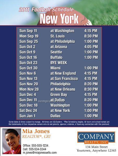"New York Football Schedule Postcards - Jumbo (8-1/2"" X 5-1/2"")"