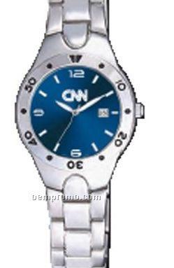 Pedre Women's Blue Dial Monaco Metal Watch W/ Stainless Steel Bracelet