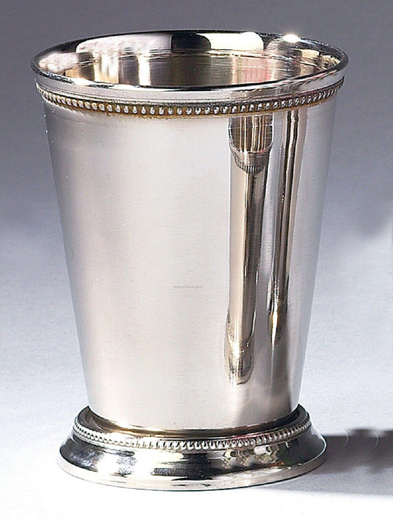 Beaded Mint Julep Cup W/ Bright Nickel Finish
