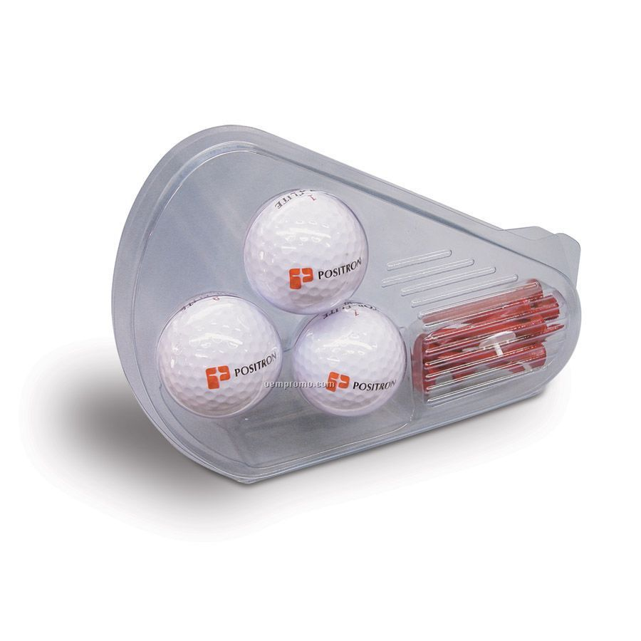 Clamshell Golf Gift Pack W/3 Golf Balls (2 Color)