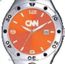 Pedre Women's Orange Dial Monaco Metal Watch W/ Stainless Steel Bracelet