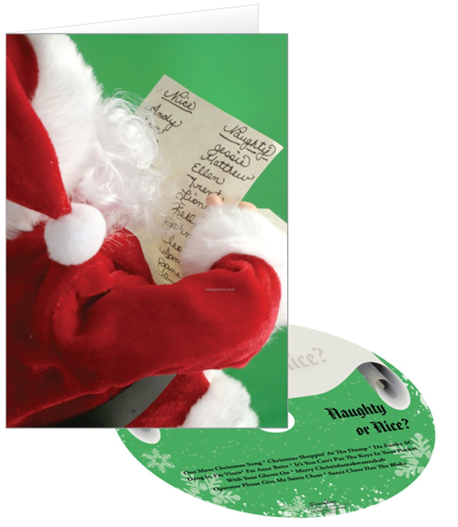 Naughty Or Nice Holiday Greeting Card With Matching CD