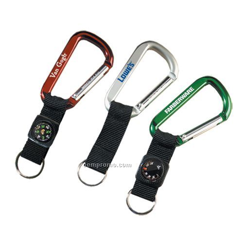 Lewis Carabiner With Strap & Compass