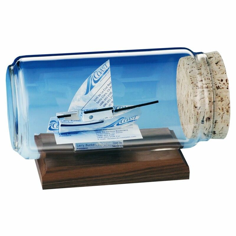 Sloop Sailboat Business Card In A Bottle