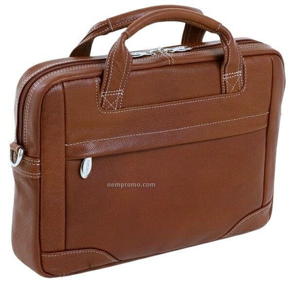 Bridgeport Leather Large Laptop Brief - Brown