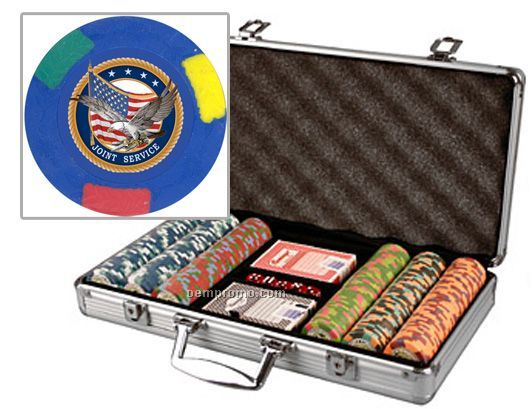 Custom Labeled 300 Poker Chip Set W/ Aluminum Case & Cards