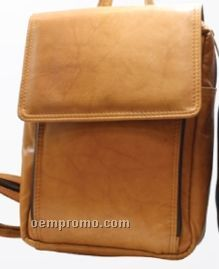Multi Color Mariah Half Flap Knapsack W/ Zipper Organizer