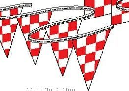 30' Race Track Triangle Red & White Checkered Pennant Strings (12 Panels)