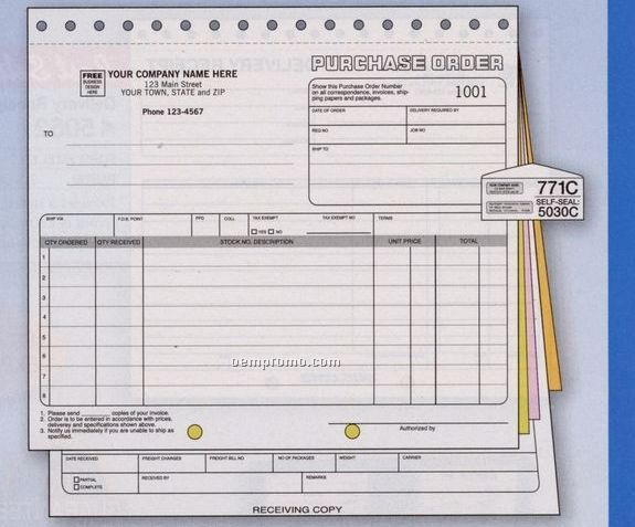 Classic Collection Purchase Order W/ Receiving Report (4 Part)