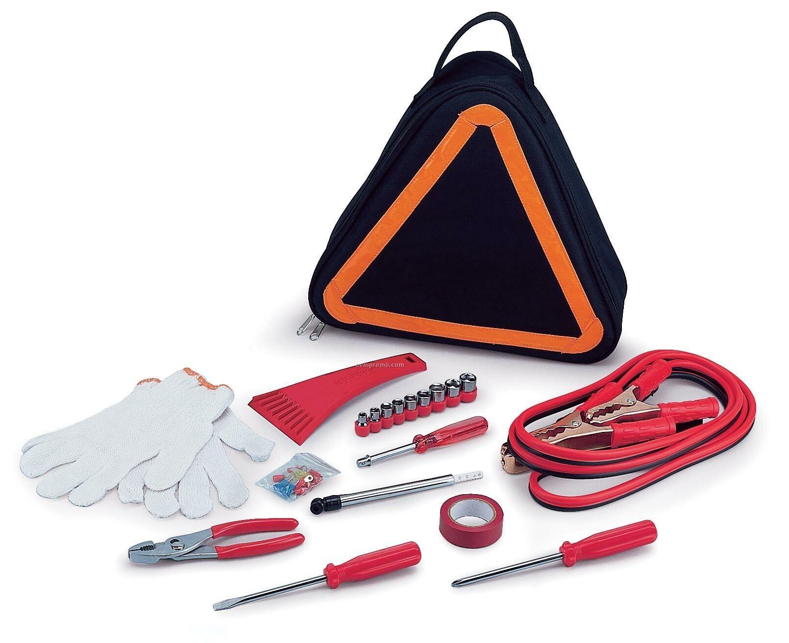 Emergency Roadside Kit In Triangular Shaped Tote Bag