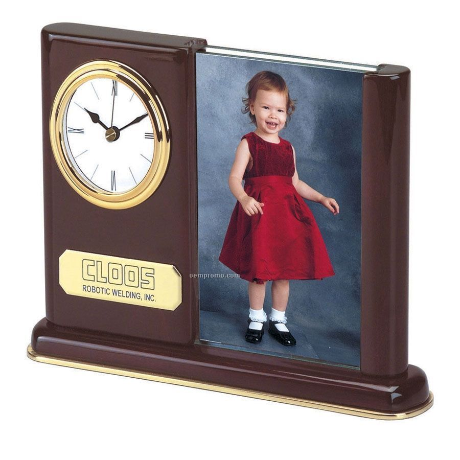 with picture framechina wholesale piano wood clock with picture frame