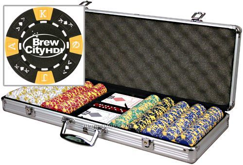 Custom Hot Stamped Poker Chip Set With Cards (500 Chip Set)