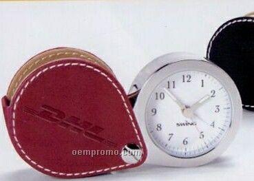 Simulated Leather Travel Alarm Clock