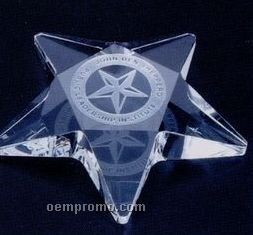 "4""X4""X3/4"" Crystal Star Paperweight W/ Flat Top (Screened)"