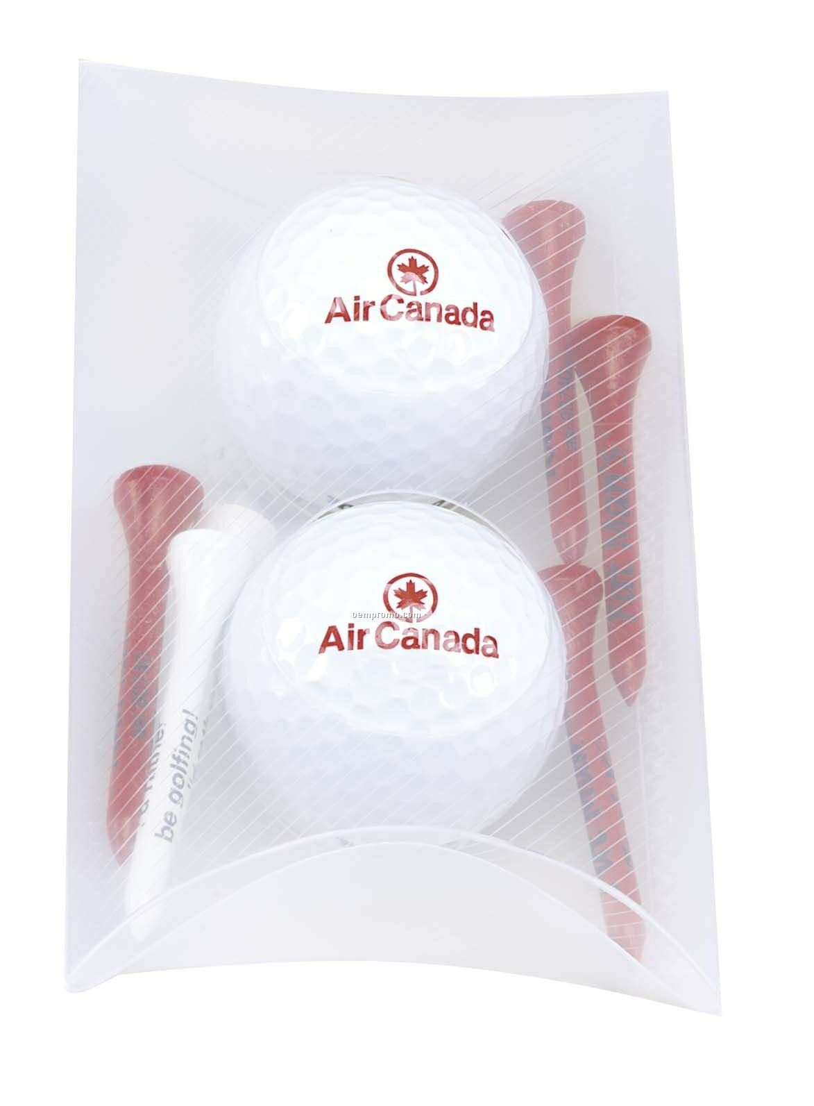 Tee Off 2 Ball Pillow Pack W/ Titleist Dt Solo Golf Balls & 6 Tees